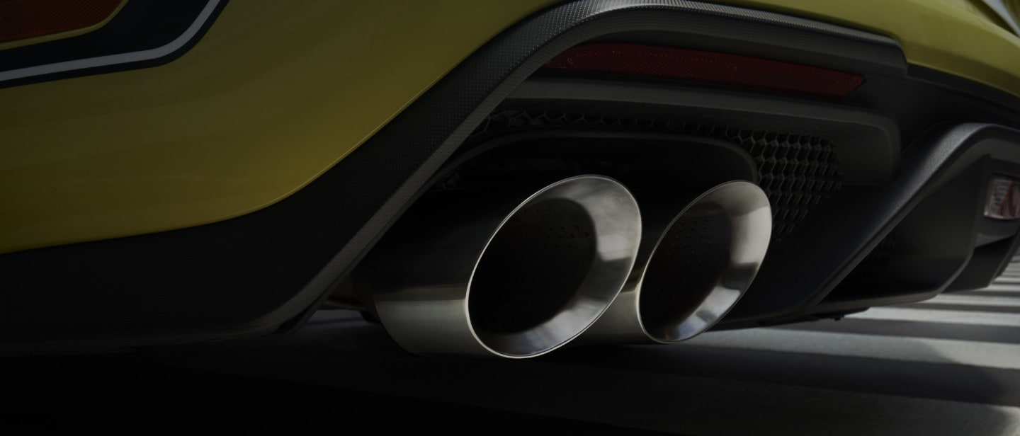 Ford Mustang Mach 1 exhaust close up