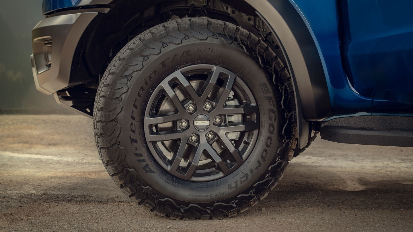Blue Ford Ranger Raptor tyres and alloys