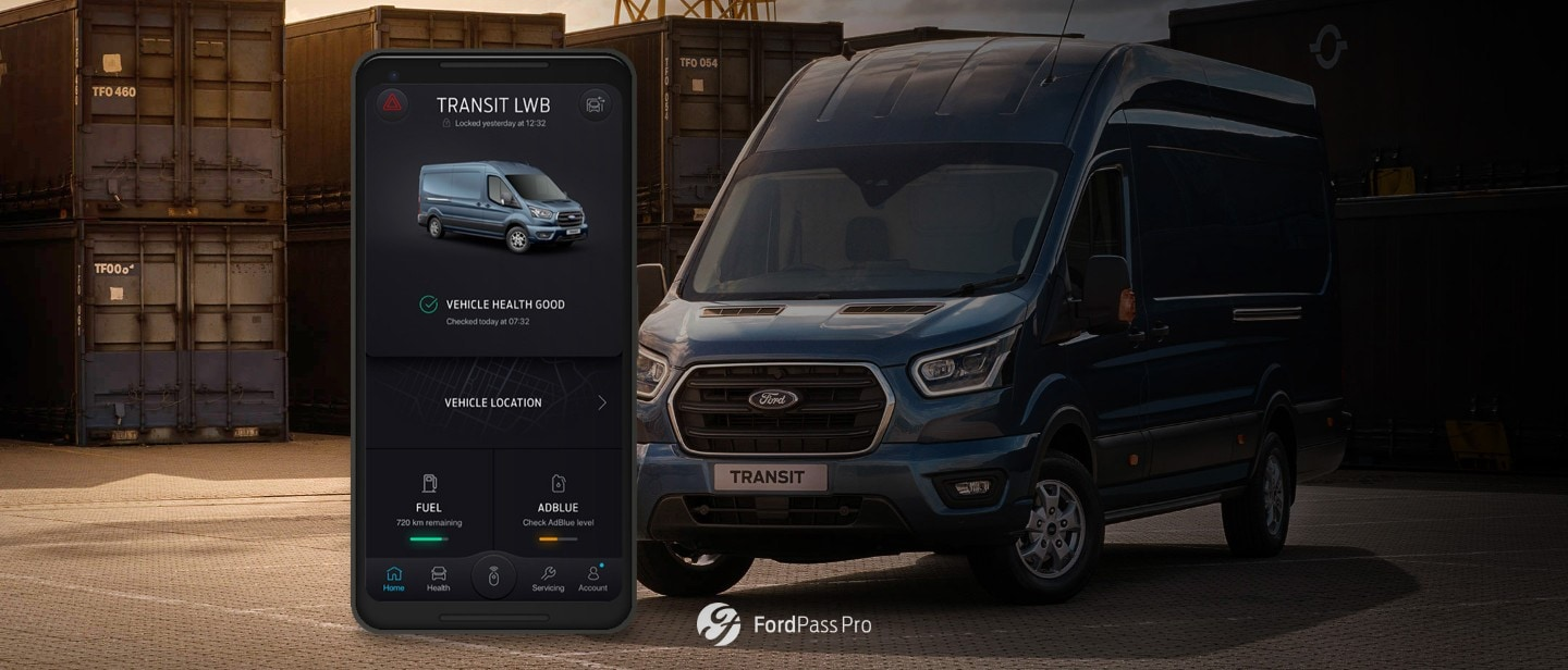 Ford PassPro phone with an App and Ford Transit Van in background